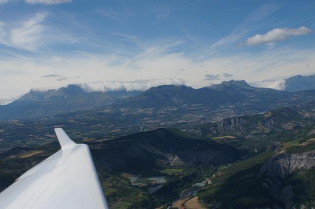 D-KPSV mit dem Motorsegler über den Alpen